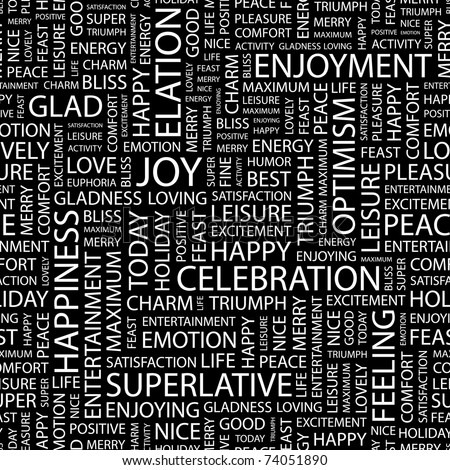 JOY. Seamless vector pattern with word cloud. Illustration with different association terms.