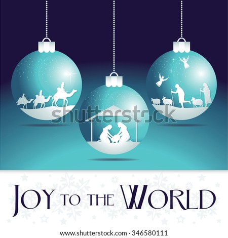 Joy to the world. Christmas nativity tree ornaments. - stock vector