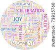 JOY. Word collage on white background. Vector illustration. Illustration with different association terms. - stock photo