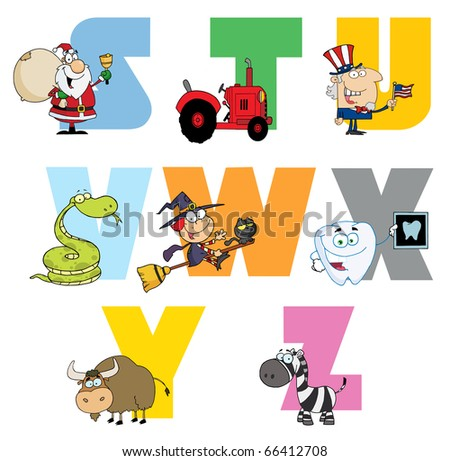 Joyful Cartoon Alphabet Collection 3 - stock vector