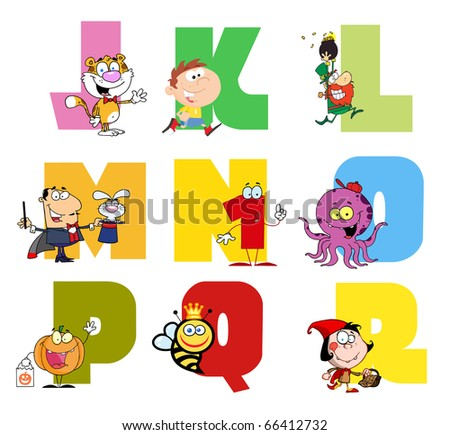 Joyful Cartoon Alphabet Collection 2 - stock vector