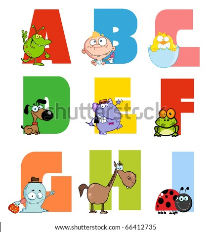 Joyful Cartoon Alphabet Collection 1 - stock vector