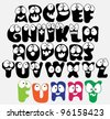 Joyful Cartoon font - from A to Z, funny capital letters, vector - stock photo