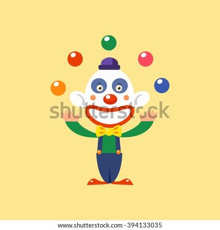 Joyful Clown Juggling Simplified Isolated Flat Vector Drawing In Cartoon Manner - stock vector