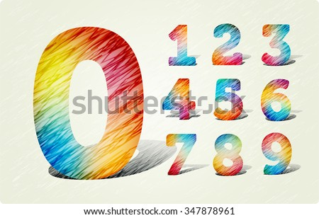 Joyful 3d Bright numbers. In the style of colored pencil strokes. eps10. Zero 0 One 1 Two 2 Three 3 Four 4 Five 5 Six 6 Seven 7 eight 8 nine 9.