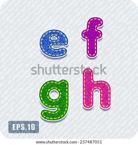 Joyful 3d colorful denim lowercase letters. The letter e, letter f, letter g, letter h. Alphabet. The rest of uppercase and lowercase letters and numbers of the alphabet in my portfolio. - stock vector