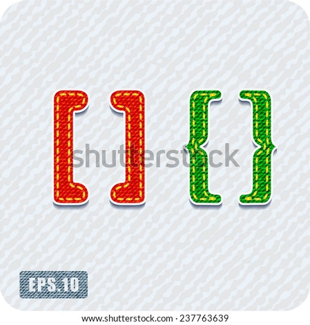 Joyful 3d colorful denim the symbols,square brackets and curly braces. The rest of uppercase and lowercase letters and numbers of the alphabet in my portfolio. - stock vector