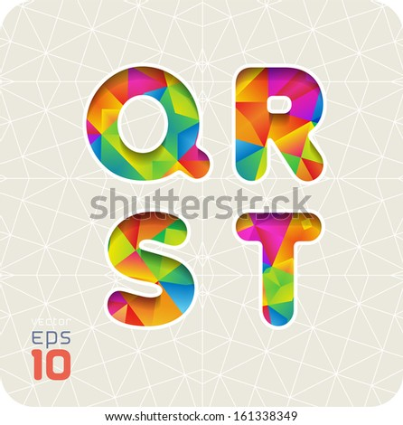 Joyful 3d set of cut paper vector alphabet. The capital letters Q, R, S, T. Multicolored gradient. Eps 10. The rest of letters, symbols and numbers of the alphabet in my portfolio. - stock vector