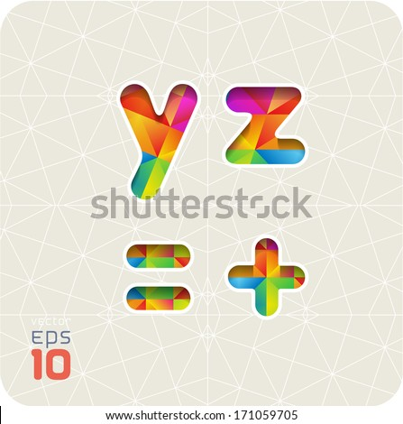 Joyful 3d set of cut paper vector alphabet. The lowercase letters y, z and equal, plus.  Multicolored gradient. Eps 10. The rest of  letters, symbols and numbers of the alphabet in my portfolio. - stock vector