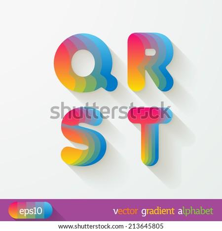 Joyful 3d set of cut paper vector alphabet. The Uppercase letters Q, R, S, T. spectrum. Multicolored gradient. Eps 10. - stock vector