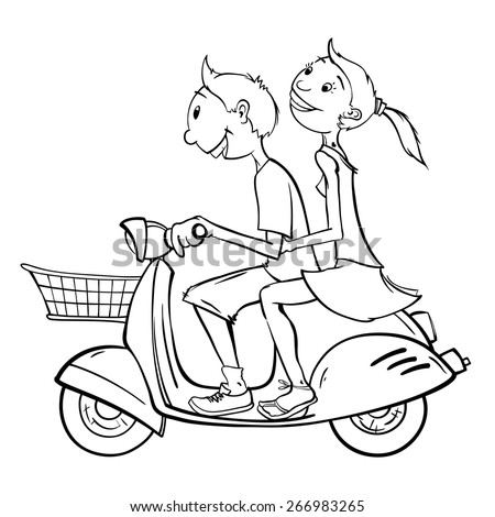 Joyful young couple is going somewhere on an vintage scooter with luggage basket. - stock vector