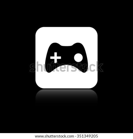 joystick - black vector icon on the white button - stock vector