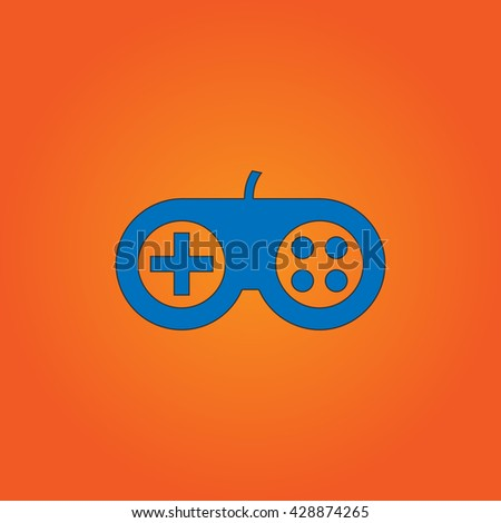 Joystick. Blue flat icon with black stroke on orange background. Collection concept vector pictogram for infographic project and logo - stock vector