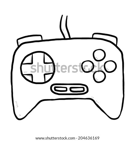 joystick / cartoon vector and illustration, black and white, hand drawn, sketch style, isolated on white background. - stock vector