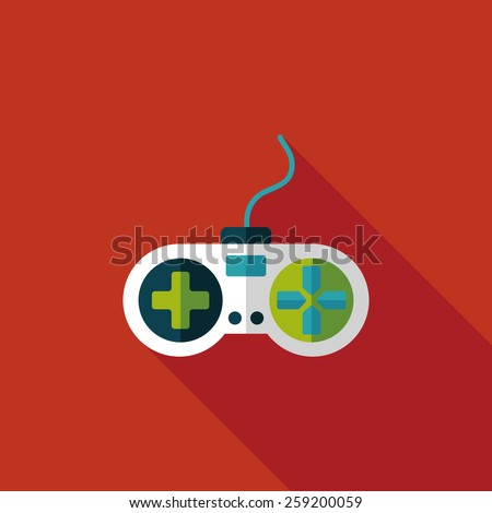 joystick flat icon with long shadow,eps10 - stock vector