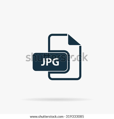 JPG image file extension. Flat vector web icon or sign on grey background with shadow. Collection modern trend concept design style illustration symbol - stock vector
