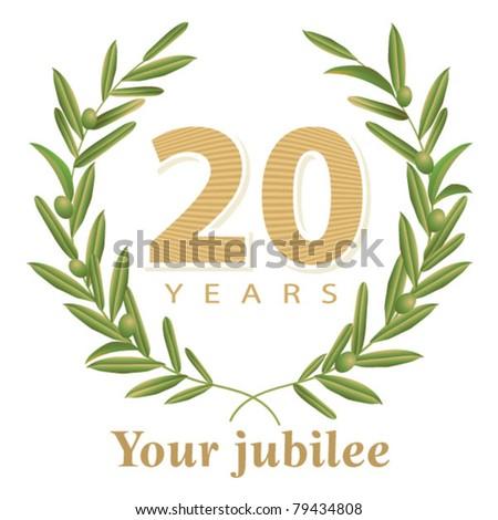 Jubilee, golden laurel wreath 20 years - stock vector
