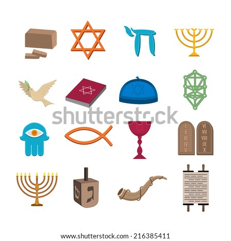 Judaism church traditional symbols icons set isolated vector illustration - stock vector