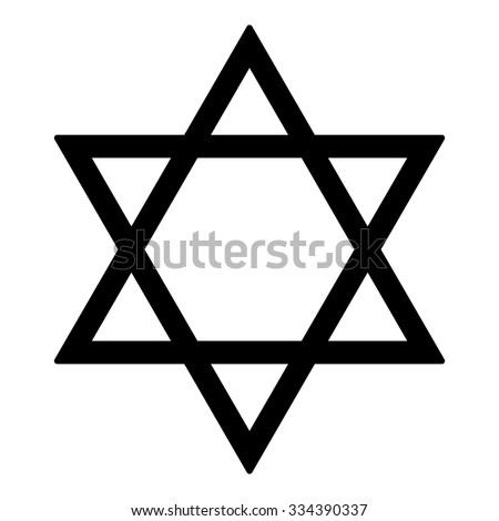 Judaism Star Religion Symbol Israel Black Stock Vector 334390337