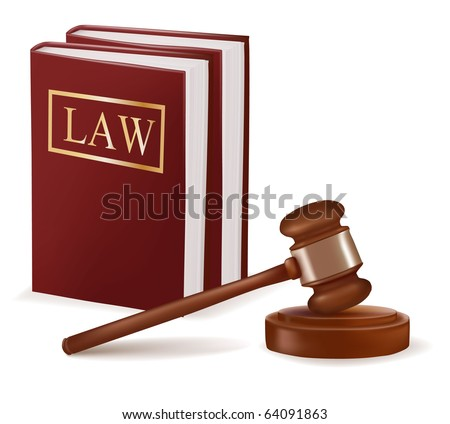 Judge gavel and law books. Photo-realistic vector - stock vector