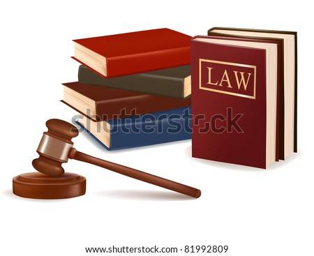 Judge gavel and law books. Photo-realistic vector. - stock vector