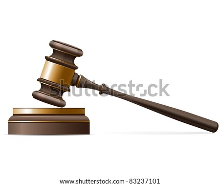 Judge gavel and sound block - stock vector