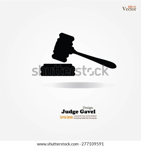 judge gavel icon on gray background. vector illustration - stock vector