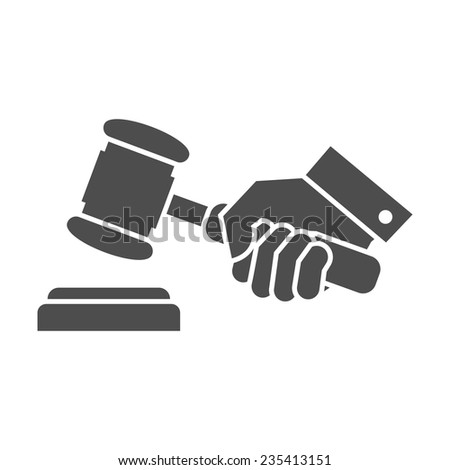 judge gavel in hand. black and white icon  - stock vector