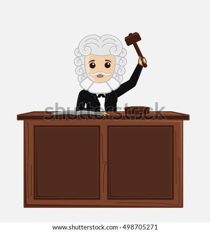 Judge Giving Verdict By Hitting Mallet At Desk