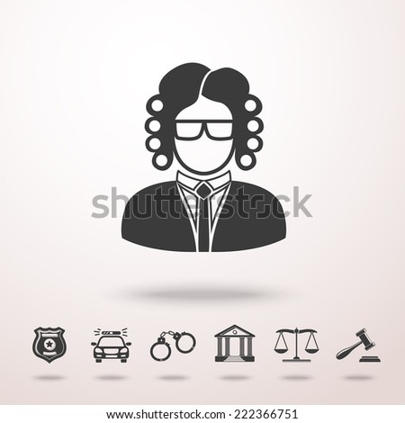 Judge icon in the air with shadow. With set of law (justice) icons - scales, hammer, court house, police badge, handcuffs, police car. vector - stock vector