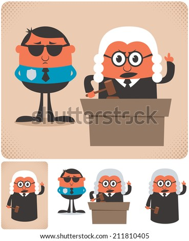 Judge: Illustration of cartoon judge in 4 different versions. No transparency and gradients used. - stock vector