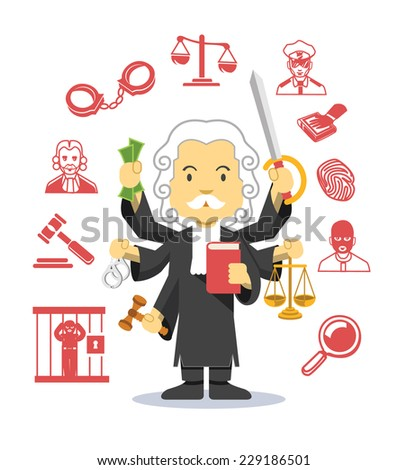 Judge vector flat illustration icon set - stock vector
