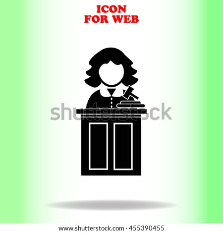 Judge web icon. Black illustration on white background