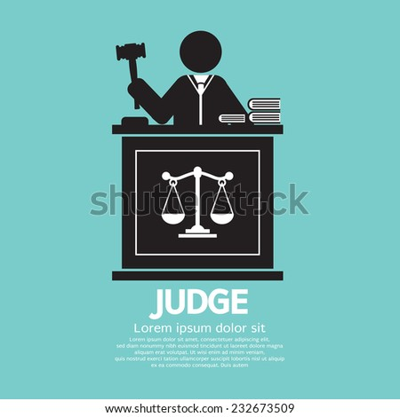 Judge With Gavel Symbol Graphic Vector Illustration - stock vector