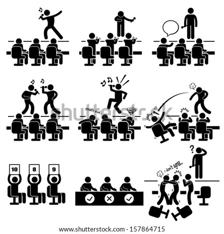 Judges Audition Singing Performance Talent Show Stick Figure Pictogram Icon - stock vector