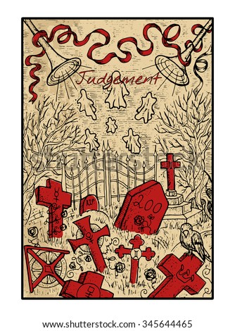 Judgment. The major arcana tarot card in color, vintage hand drawn engraved illustration with mystic symbols. Scary halloween landscape with old cemetery, graves and ghosts. - stock vector
