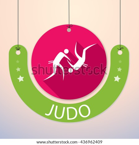 Judo - Colorful Paper Tag for Sports - stock vector
