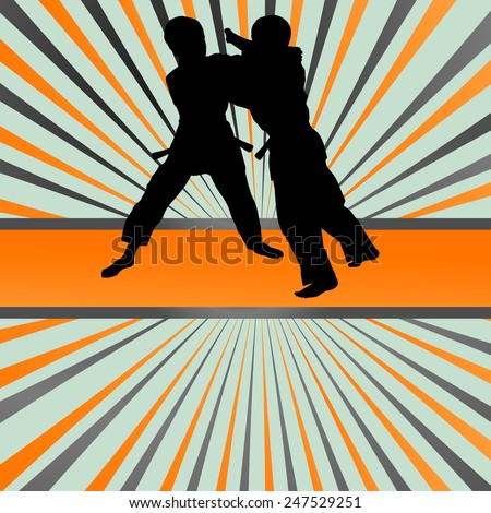 Judo fight boy vector background concept - stock vector
