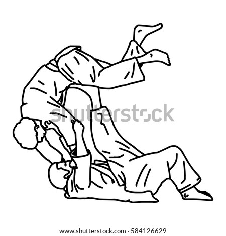 judo martial art - vector illustration sketch hand drawn with black lines, isolated on white background