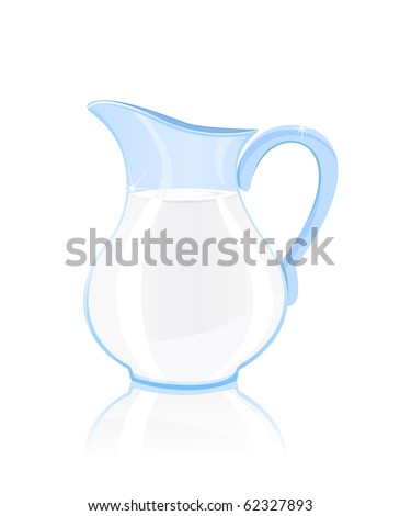 jug of milk isolated on white background - stock vector