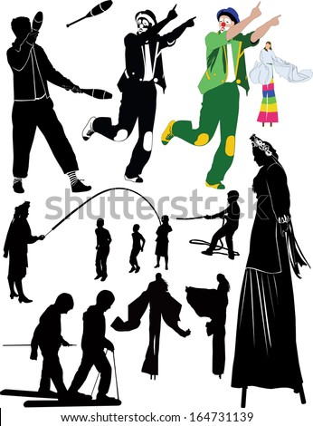 juggler clown people on stilts childrens games - stock vector