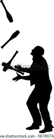 juggler silhouette - stock vector