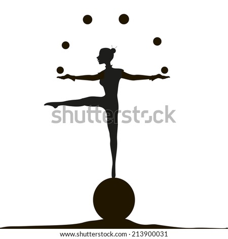 juggler, slim girl on the ball, black and white, trick, in the circus, white background, shadows - stock vector