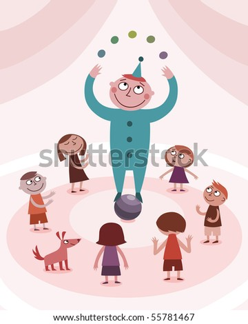 Juggling boy and kids - vector - stock vector