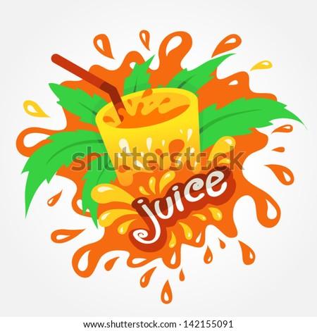 juice drink beverage splash orange - stock vector
