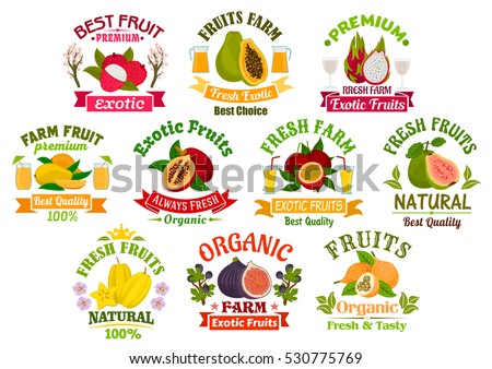 Juice fruits icons. Fruit juice drinks badges with ribbons. Vector lychee, papaya, tropical dragon fruit and mango, exotic tamarillo with passion fruit maracuya, guava, carambola and figs.
