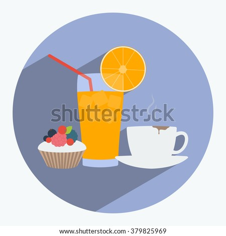 Juice glass. Cup of coffee with cake icon. Flat design. Long shadow. Vector illustration. - stock vector
