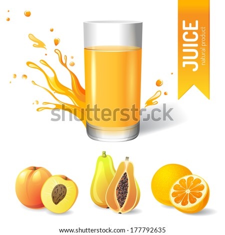 Juice in glass and fruits icons - stock vector