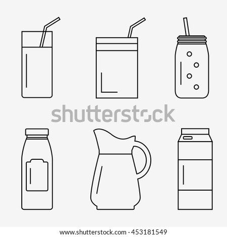 Juice isolated icons on white background. Juice bottle, glass, pack set. Flat line style vector illustration. - stock vector