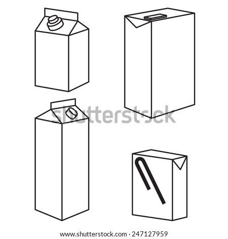 Juice milk blank white carton boxes packages isolated icons vector illustration - stock vector